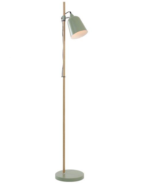 Lampadaire vert anis minimaliste - pied en bois