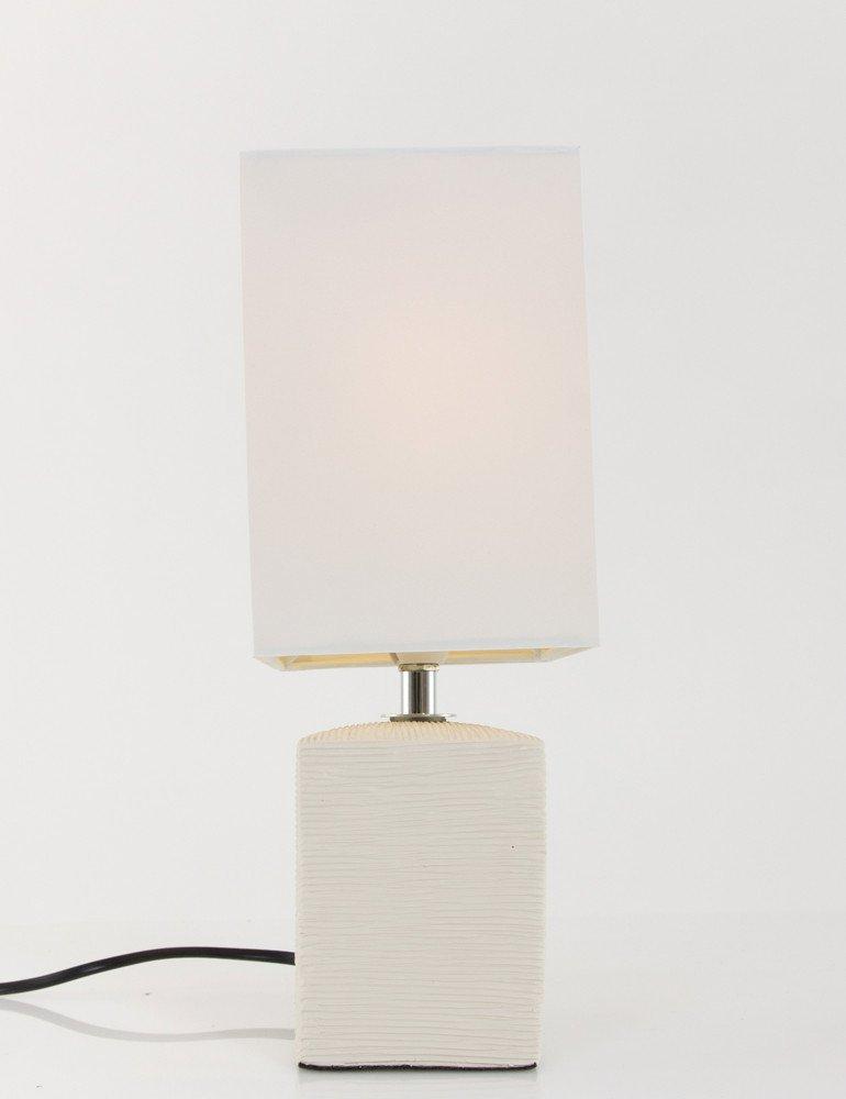 lampe poser blanche rectangulaire design rustique et pur. Black Bedroom Furniture Sets. Home Design Ideas