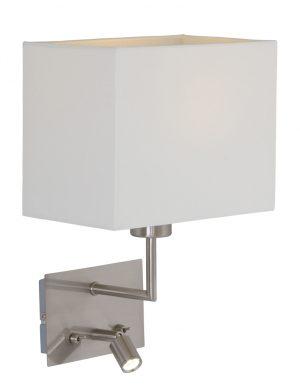 Lampe de chevet acier et blanc