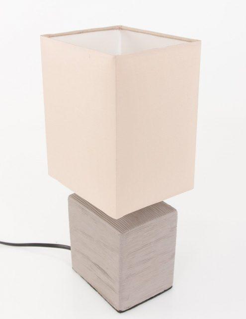 Lampe-de-chevet-rustique-pied-gris-abat-jour-beige-3