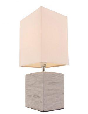 Lampe de chevet rustique pied gris - abat jour beige