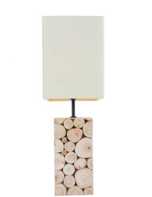 Lampe de table en bois et abat jour blanc