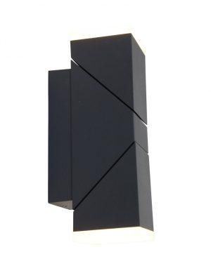 Lampe d'exterieur moderne noire- applique 2 spots