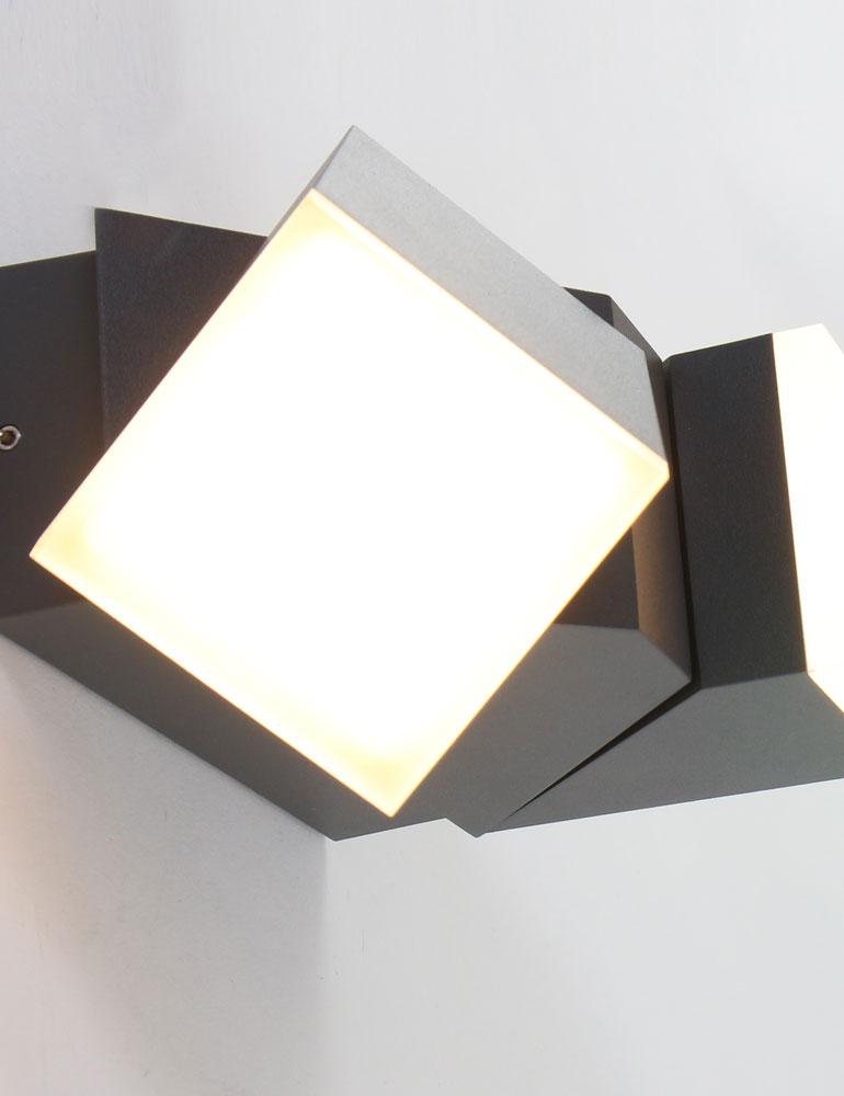 luminaire exterieur applique 2 spots moderne noire tendance. Black Bedroom Furniture Sets. Home Design Ideas