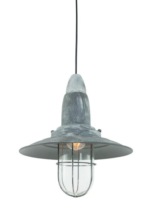 Lampe suspendue vintage grise robuste