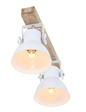 Plafonnier 2 spots design blanc et bois