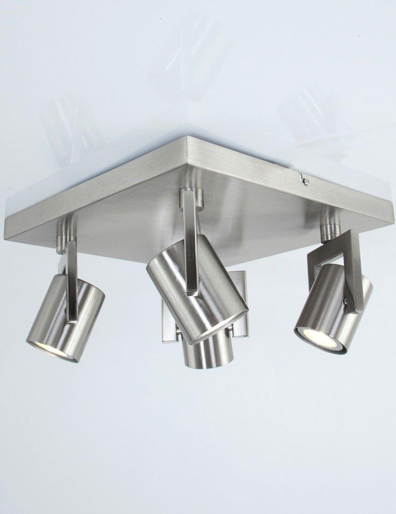 plafonnier 4 spots lampe minimaliste couleur gris metal. Black Bedroom Furniture Sets. Home Design Ideas