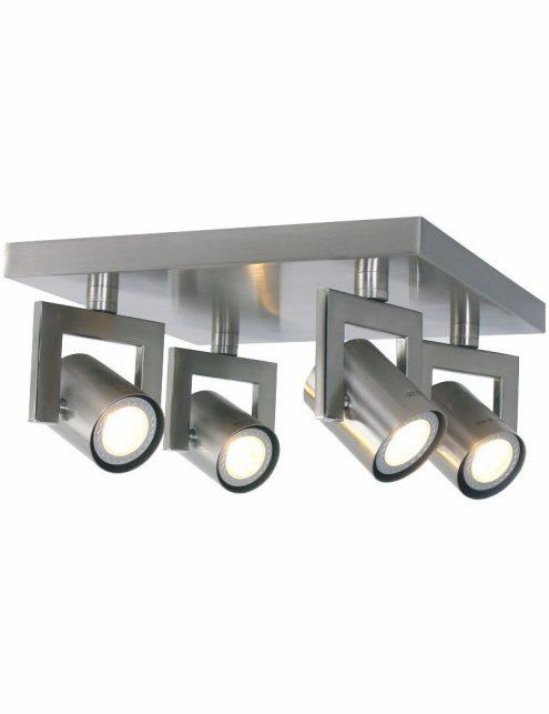 Plafonnier 4 spots LED industriel gris metal