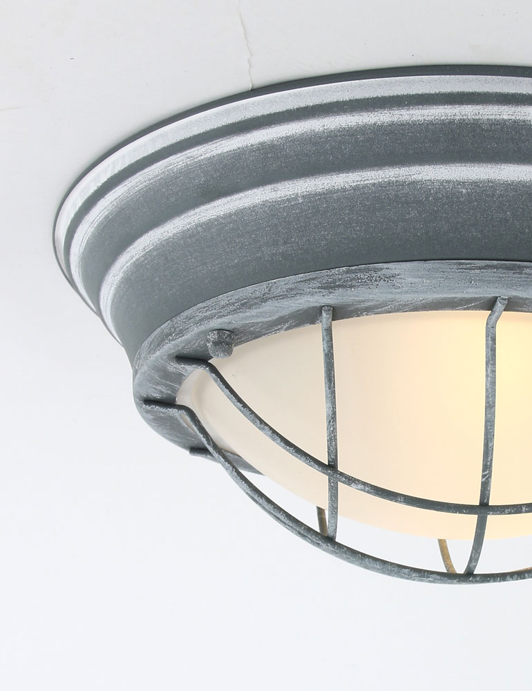 luminaire plafonnier industriel style hublot metal gris. Black Bedroom Furniture Sets. Home Design Ideas