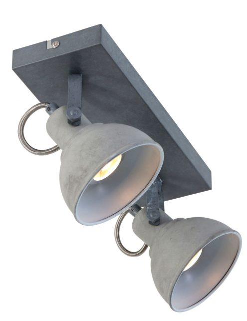 Plafonnier design moderne gris clair à 2 spot