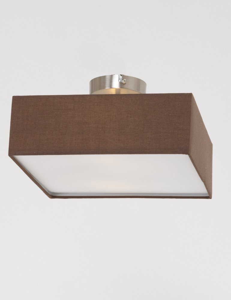 plafonnier tissu avec abat jour marron. Black Bedroom Furniture Sets. Home Design Ideas