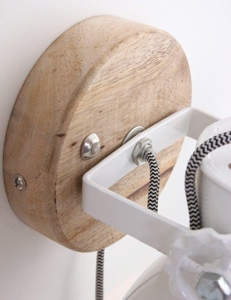 applique murale bois et blanc light living elay. Black Bedroom Furniture Sets. Home Design Ideas