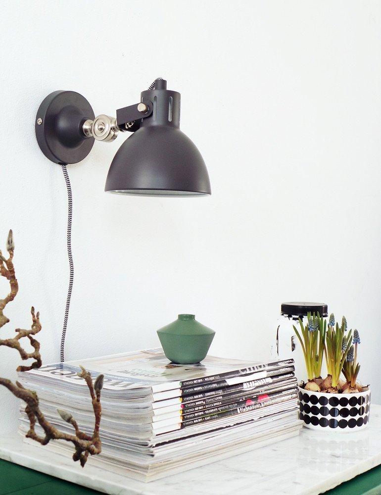 applique murale industrielle noire lumidem cera lampesenligne. Black Bedroom Furniture Sets. Home Design Ideas