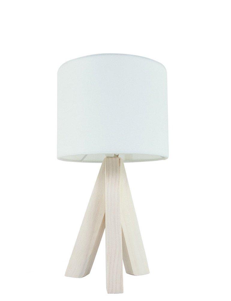 Lampe Trepied Bois A Poser Abat Jour Blanc En Tissu Lampesenligne Fr
