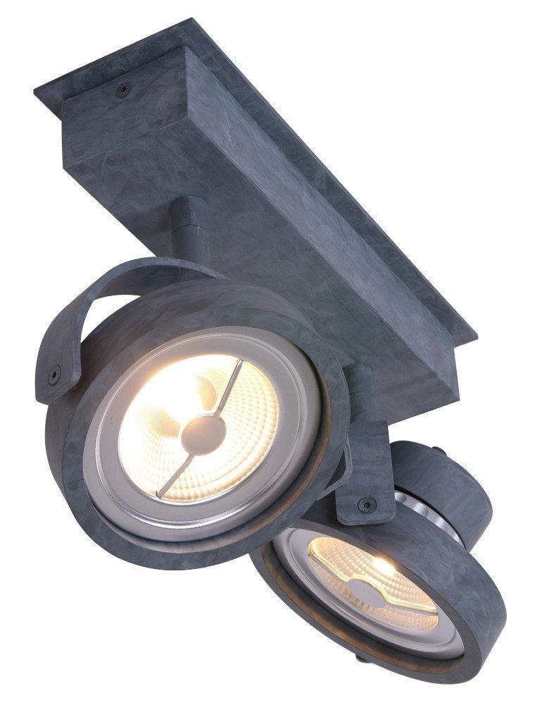 plafonnier spot industriel gris anthracite 2 spots. Black Bedroom Furniture Sets. Home Design Ideas