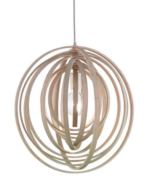 1614BE-lampe en bois suspendue