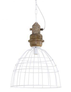 1677W-lampe en fil en bois blanc