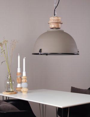 Lampe à suspension rustique Steinhauer Bikkel gris chaud ø42 cm-1459GR