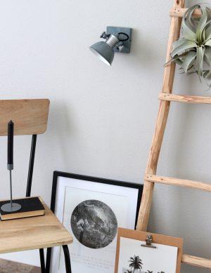 Lampe projecteur industriel à LED pour plafond et mur Steinhauer Brooklyn couleur grise-1533GR