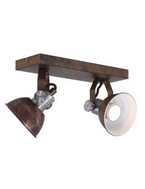 lampe à deux spots Steinhauer Brooklyn couleur marron altérée-1534B