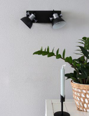 Lampe à deux spots Steinhauer Brooklyn couleur noire-1534ZW
