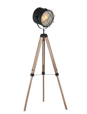 Lampadaire industriel trépied Mexlite Dyce couleur noire-1561BE