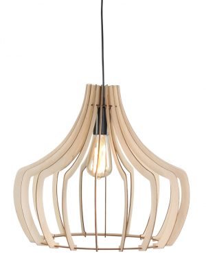 Lampe à suspension en bois ajourée Trio Leuchten brun-1626BE
