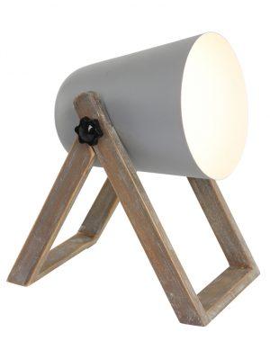 Lampe de table Trio Leuchten Marc couleur grise avec bois-1642GR