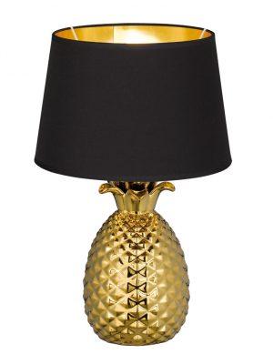 Lampe Ananas avec abat-jour Reality Pineapple noire et or-1644GO