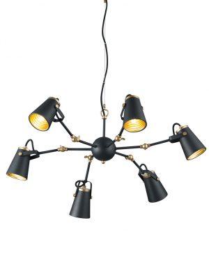 Lampe à suspension noire à six lumières avec intérieur doré Trio Leuchten Edward-1798ZW