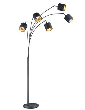 Lampadaire moderne noir à cinq lumières avec intérieur doré Reality Tommy-1807ZW