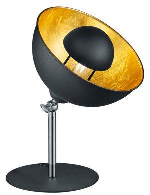 Lampe à poser noire avec un intérieur doré Trio Leuchten Liège-1822ZW