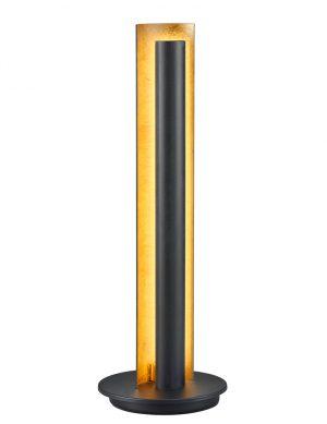 Lampe à poser industriel noire avec intérieur doré Trio Leuchten Texel-1824ZW