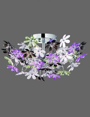 Grand plafonnier à motifs floraux en chrome Reality Flower-1830CH