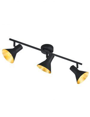 Plafonnier noir à trois lumières avec un intérieur doré Reality Nina-1835ZW
