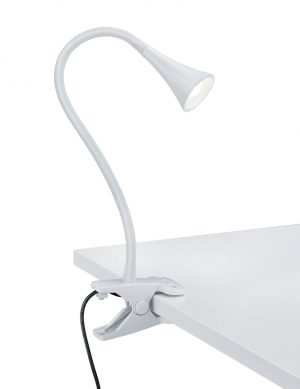 Lampe à poser à pince blanche Reality Viper-1836W