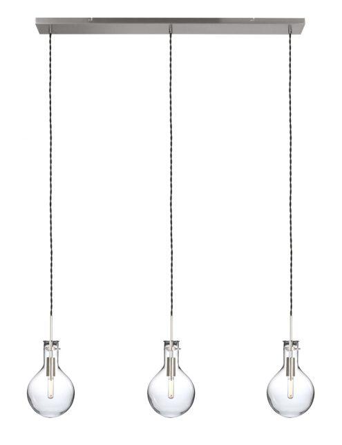 Cette suspension à trois lampes ampoules en verre Steinhauer Elegance LED acier-1892ST