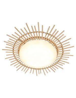 Plafonnier soleil en bambou LED Anne Lighting Aura blanc-1894W