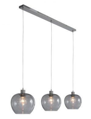Suspension moderne à trois lumières Steinhauer Lotus verre fumé-1898ST