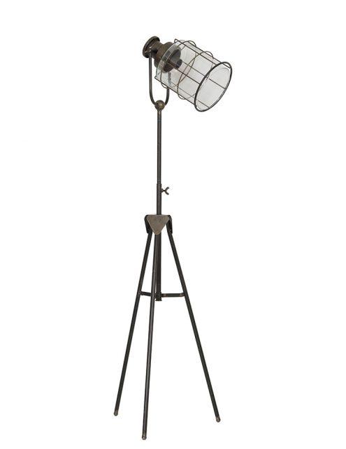 Lampadaire trépied avec abat-jour en verre Light & Living Greg bronze-1910BR