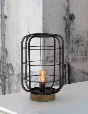 Lampe de table cage industriel Light & Living Suze noire-1915ZW