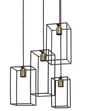 Suspension moderne à quatre lumières Light & Living Marley noire-1968ZW