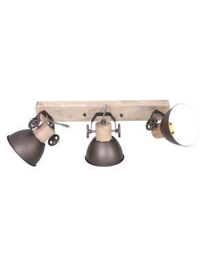 Plafonnier en bois avec 3 spots Mexlite Gearwood marron-2133A