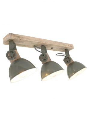 Plafonnier en bois avec 3 spots Mexlite Gearwood vert-2133G