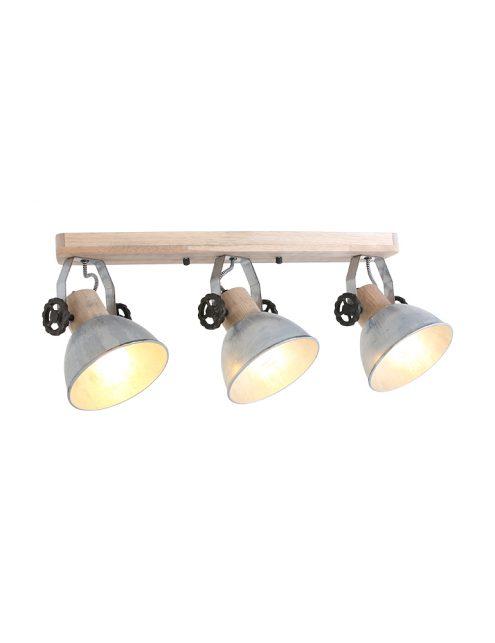 Spot en bois à trois lumières Mexlite Gearwood nickel-2133NI