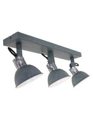Plafonnier industriel à trois lumières Steinhauer Brooklyn gris-2134GR