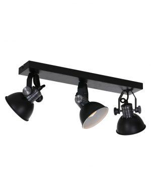 Plafonnier industriel à trois lumières Steinhauer Brooklyn noir mat-2134ZW
