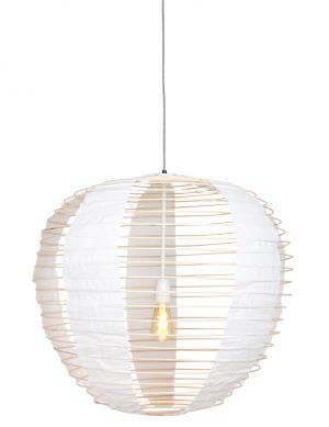 Suspension en tissu et bambou Anne Lighting Bangalore blanc-2135BE