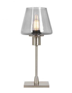 Lampe de table originale tactile en verre fumé Steinhauer Ancilla acier-2424ST