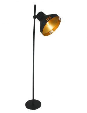 Lampadaire avec grand abat-jour Mexlite Evy noir et or-2569ZW